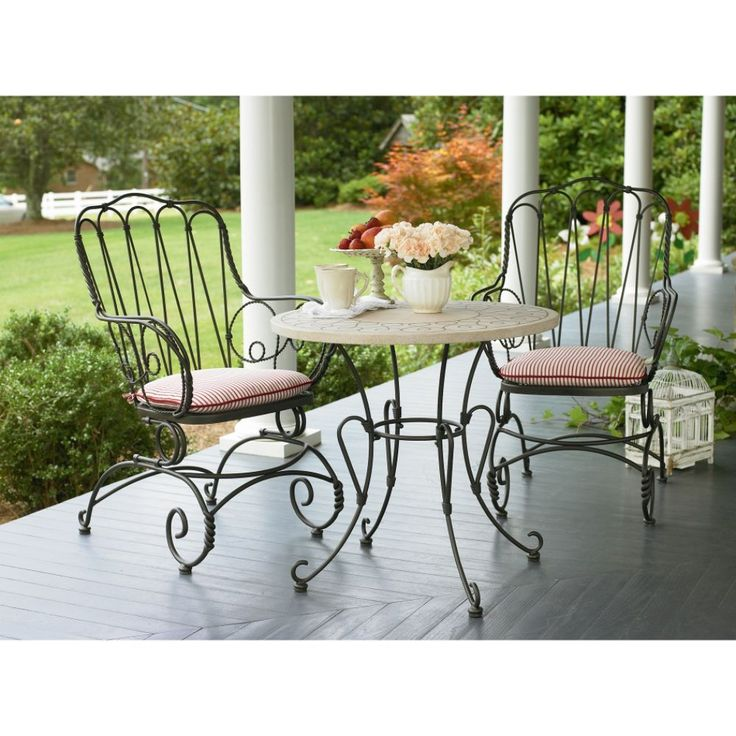 Black wrought Iron Cafe Table and Chairs | Furniture > Outdoor Furniture > Iron > Wrought Iron Bistro Sets