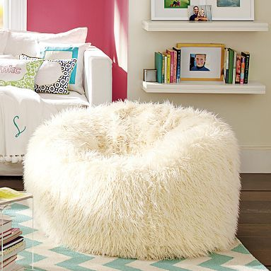 "Ivory Furlicious Beanbags (expensive for a bean bag) Small: 36"" diameter $169 Large: 41"" diameter $185"