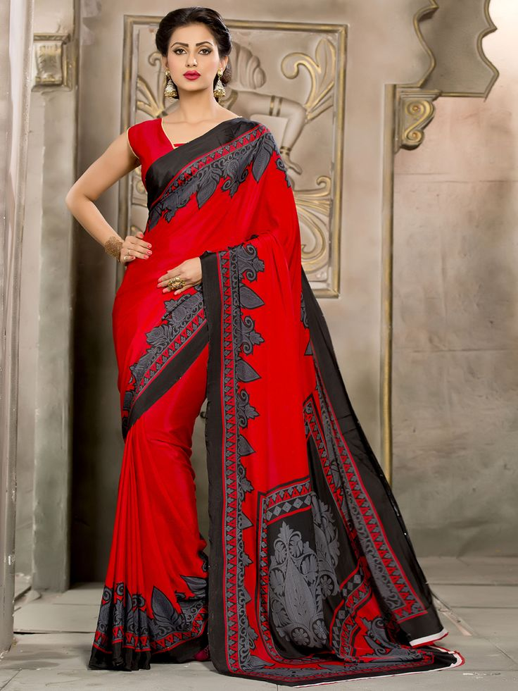 Red Crepe Casual Printed Saree