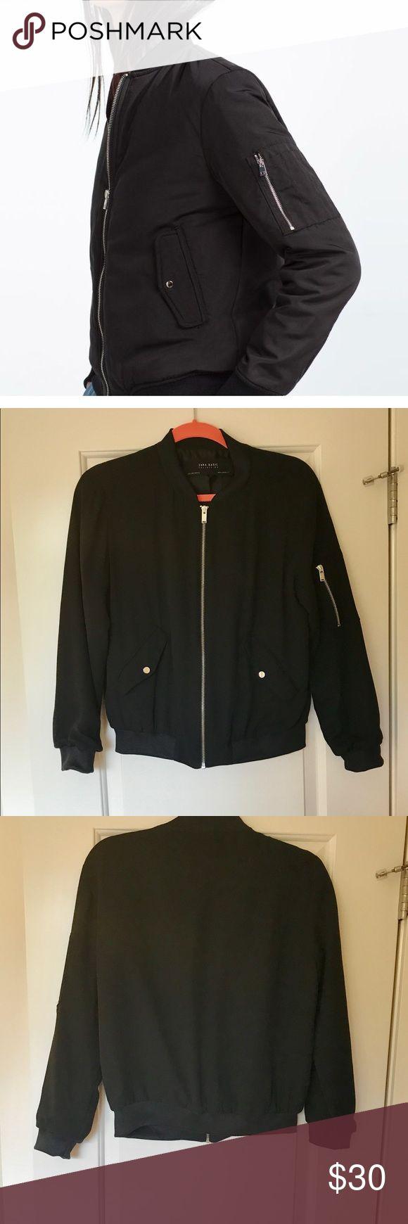 Zara nylon bomber jacket Black nylon Zara basic collection bomber jacket in EUC. Silver colored hardware. No signs of any wear! Zara Jackets & Coats Utility Jackets