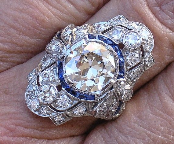 Art Deco platinum sapphire diamond ring 2.27ct center (etsy)