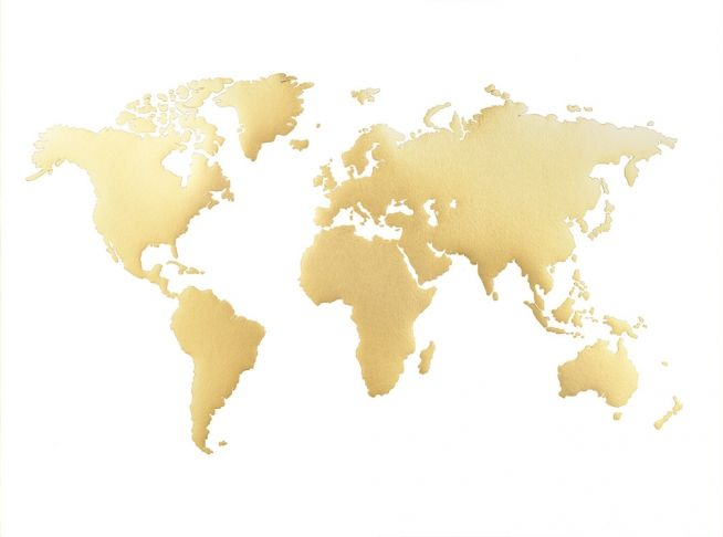 Unique Sch nes Plakat mit goldener Weltkarte