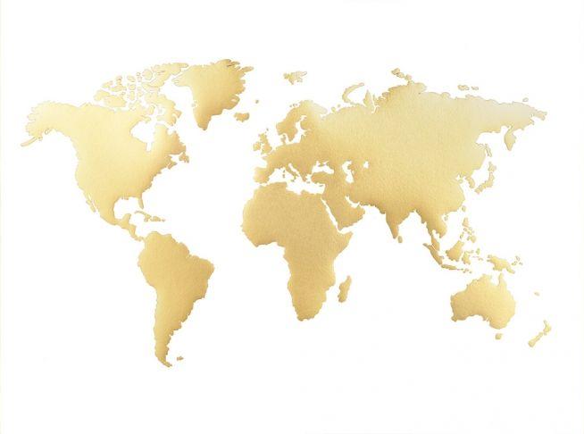 Schönes Plakat mit goldener Weltkarte