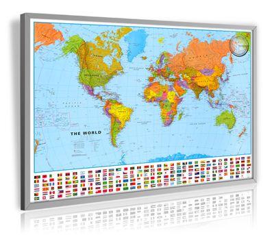 Weltkarte politisch mit Relief-Bergschummerungen und Flaggenrand