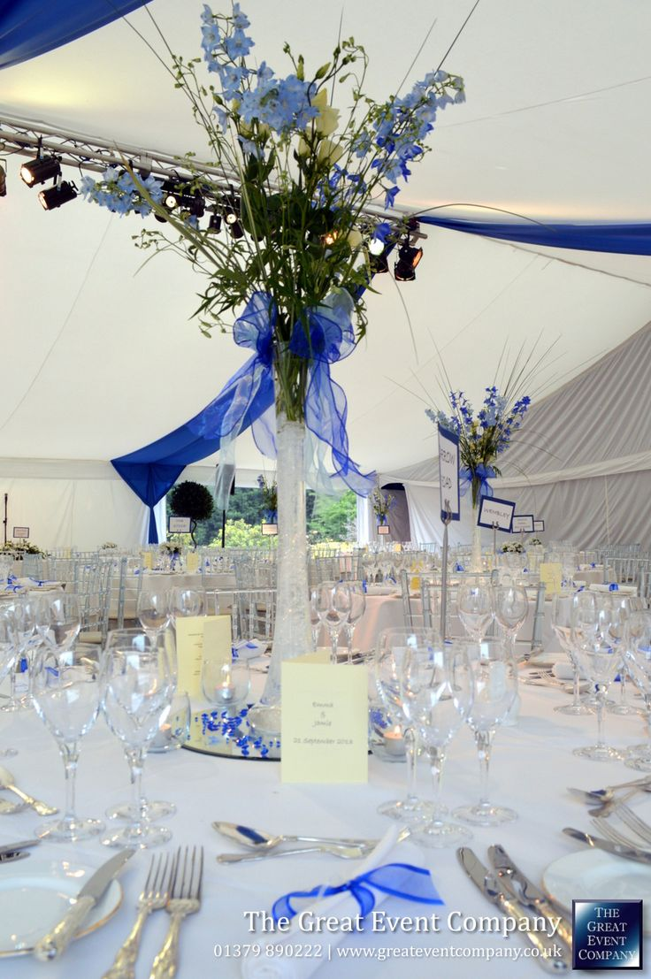 The Contemporary Wedding theme by The Great Event Company. Featuring our frame marquee, flat white linings, blue swagging, and ice chairs, for a classy, modern look.