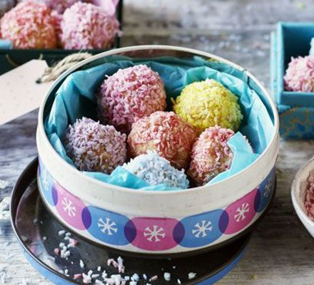 Make these colourful truffles from leftover Madeira cake, dried apricots and desiccated coconut - perfect as an edible gift to make with kids