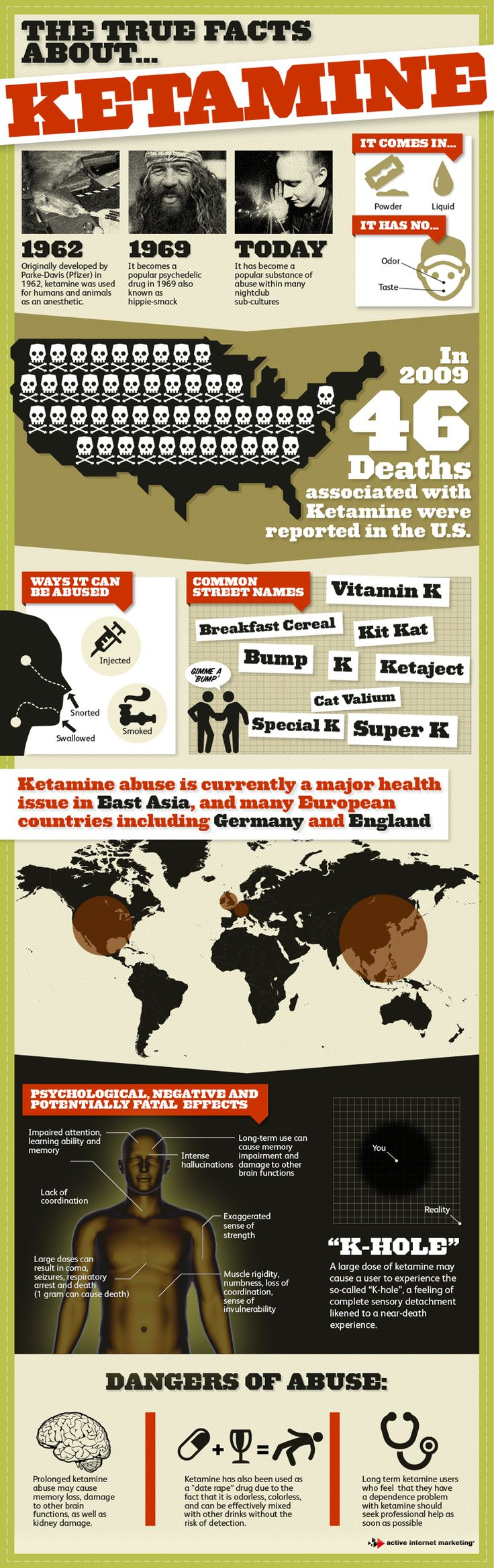 Substances that are originally designed for medical use are sometimes misused for recreational purposes. Ketamine is a synthetic substance that is abused by the public for recreational purposes. While ketamine is legally used by doctors, it is illegal when used recreationally. #drug #infographic - Click for more information and a way to get help.