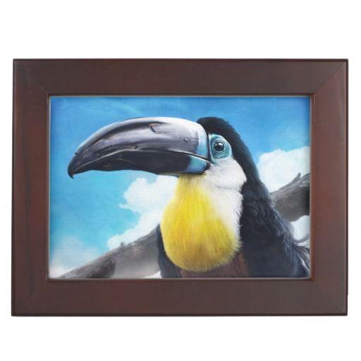 Toucan in Misty Air digital tropical bird painting Keepsake Box