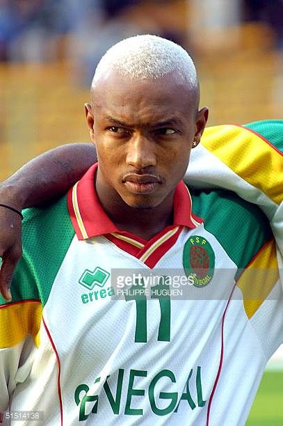 Portrait of Senegalese forward El Hadji Diouf taken at Bollaert stadium in Lens 04 October 2001 before the start of the friendly soccer match between...