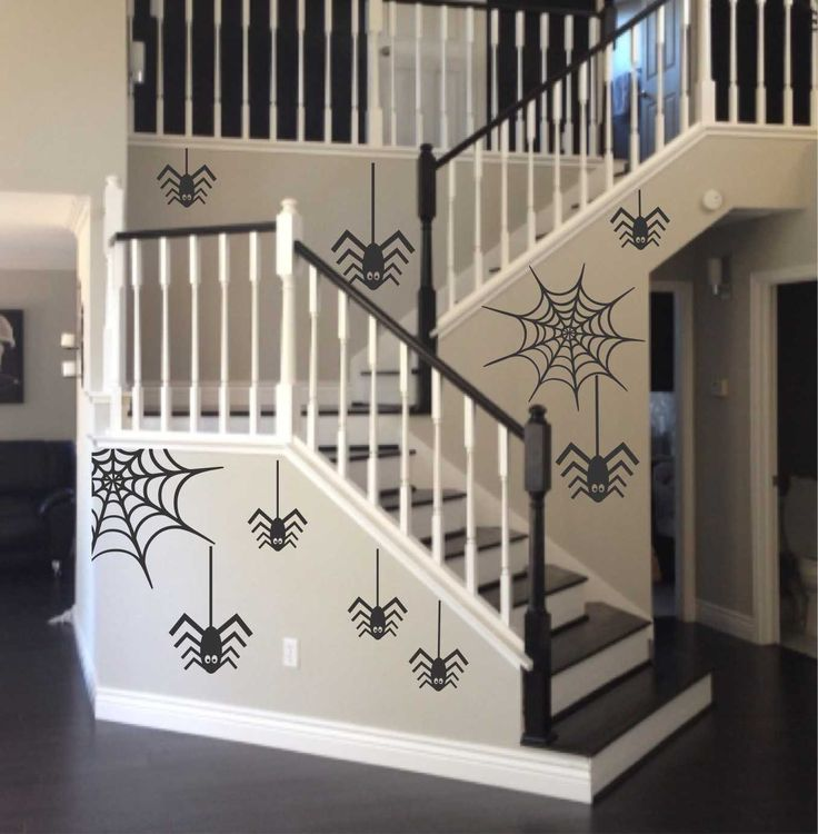 Vinyl Wall Lettering Halloween Decals Spiders and Webs Stickers