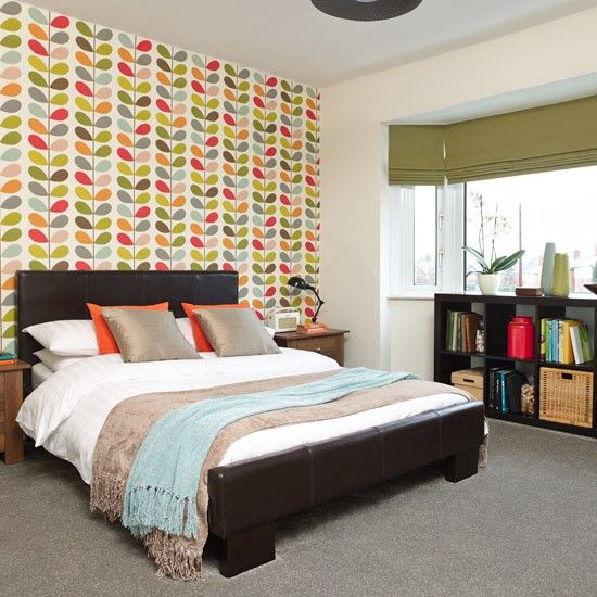 start with a feature wallpaper modern bedroom orla kiely wallpaper bright bedroom