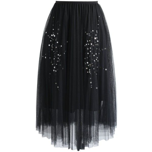 Chicwish Shining Stars Mesh Tulle Skirt in Black ($52) ❤ liked on Polyvore featuring skirts, black, knee length tulle skirt, tulle skirts, shiny skirt, chicwish skirt and mesh skirts