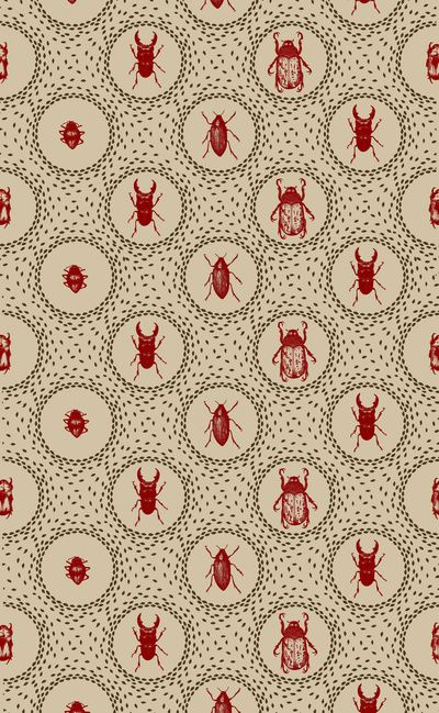 I absolutely ADORE this! - However, I would want it as wallpaper or fabric for my powder room. Delightful. Beetle Pattern by Holly Trill