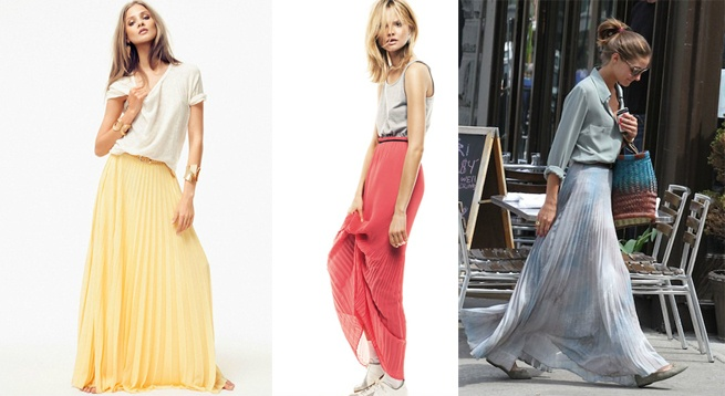 Faldas largas plisadas para verano