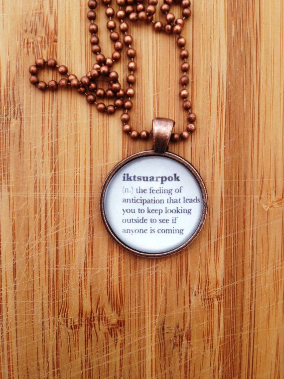 Hope Definition Necklace - Iktsuarpok Word Pendant Gift for Writer Gift for Book Lover