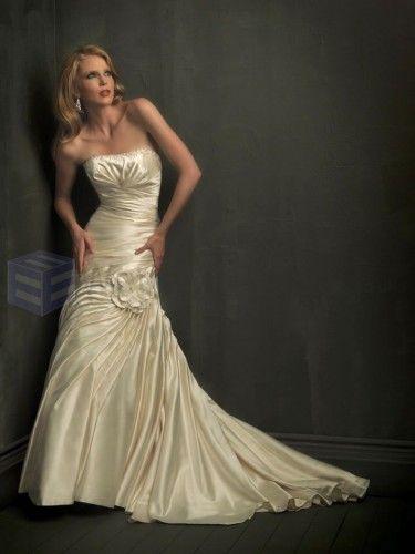 Mermaid Taffeta symmetrical Side Draped Bodice Softly Curved Neckline Chapel Length Train Wedding Dresses