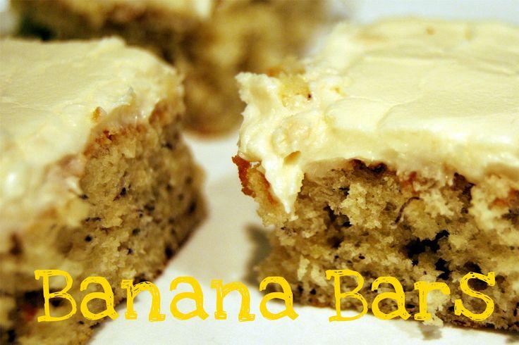 Banana Bars @yourhomebasedmom.com  A nice change from banana bread  #bananabars,#recipes