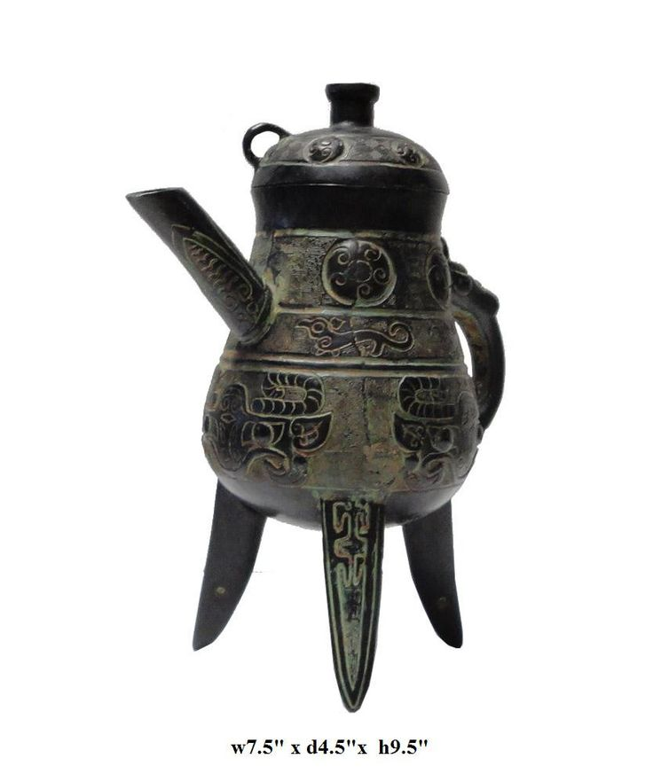 Chinese Green Bronze-ware Tri-Legs Cup Ding Display