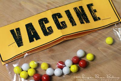 Sixlets in a small bag w/ a topper labeled vaccine. via Sugar Bean Bakers: { How To Throw A Zombie Party }