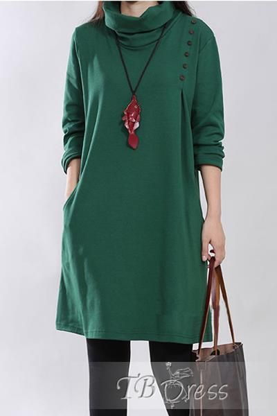 Turtle Collar Long Sleeve Casual Dress