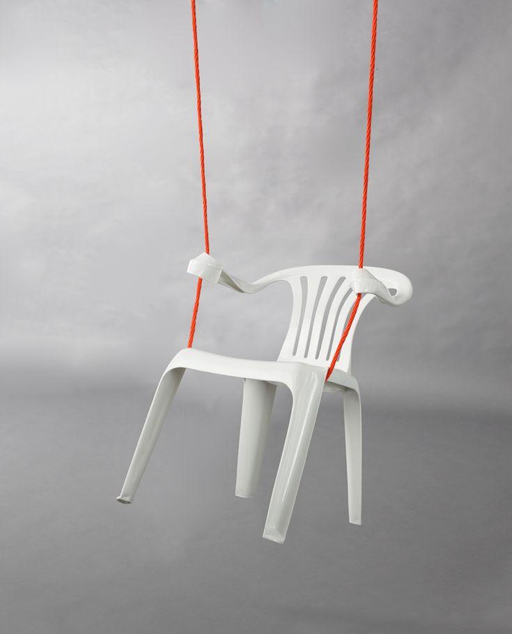 'monobloc' by bert loeschner the rocking chair, 2011, transformed polypropylene chair/ polypropylene string