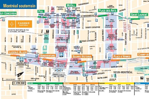 Montreal's underground City Map. It can be difficult to find the level and direction into the next part of underground. Use the map or ask at the multiple information kiosks.