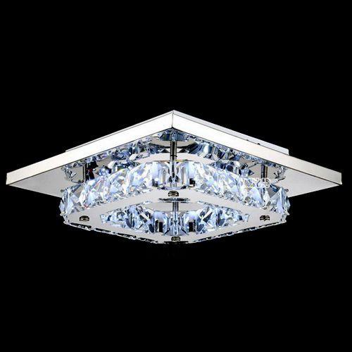Contemporain Cristal LED Plafonnier Lampe Lustre Pendentif carré glace Flush EU