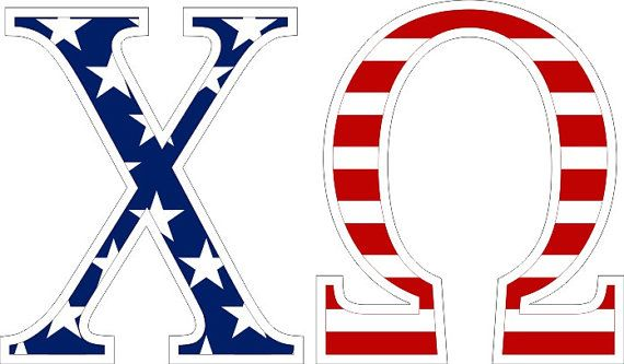 Chi Omega American Flag Greek Letter Sticker on sale for $5.95! Measures approx. 2.5 tall - You'll find the best selection & lowest prices on sorority & fraternity stickers and decals at Greek Gear