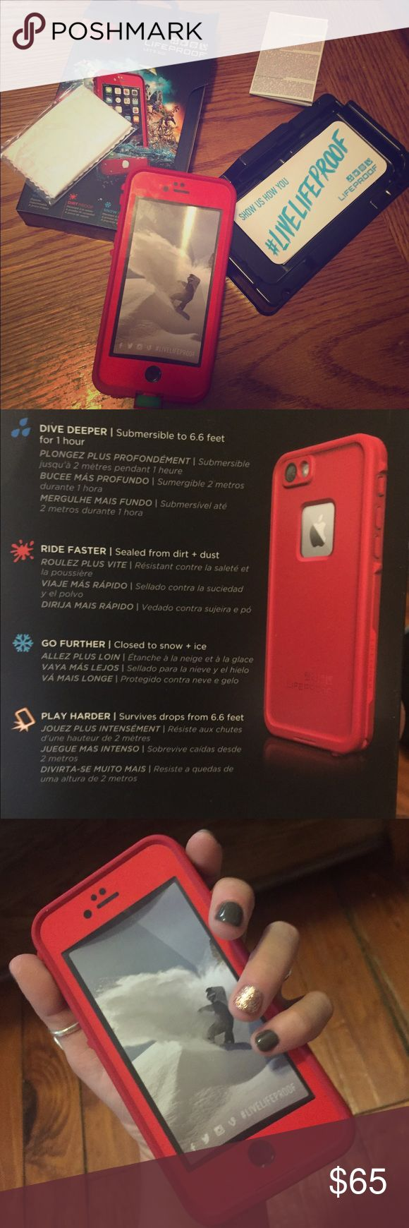 LIKENEW waterproof iPhone 6 Lifeproof case!  Complete package for Lifeproof case in limited discontinued Cherry Red color!! iPhone 6 case that is water proof, drop proof, shock proof, scratch proof! Guaranteed through Lifeproof! comes with box, aux cord extender, instructions, water proof seal help, cleaning cloth, new stickers, and case! completely tested for guarantee of water proof seal! 6.6 feet of water, snow, ice, dirt, and dust! can be dropped 6.6 feet!! new but taken out and tried…