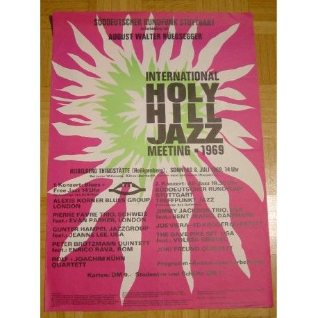 original concert poster for a european free jazz festival from 1969 held in heidelberg / germany...