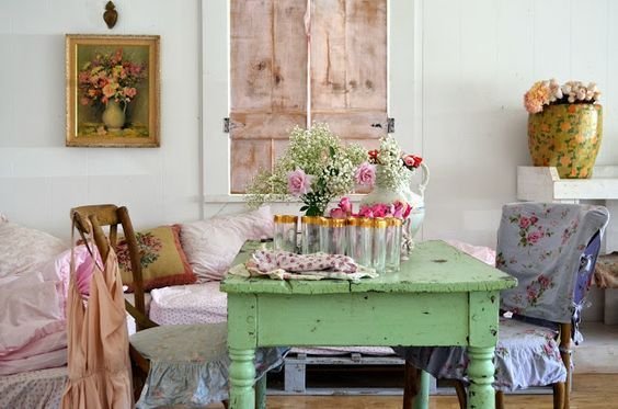 The little green table was a yard sale find. Love the mint green paint. shabbychicgirls