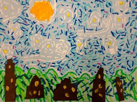 First Grade art students are studying the art of Vincent Van Gogh. We looked at many of his paintings and discussed his unique brush str...