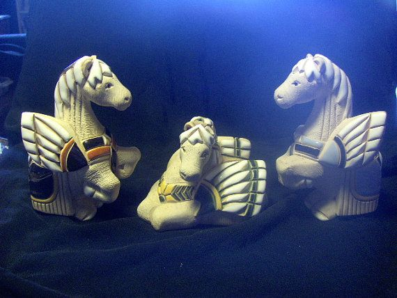 Winged Horses Sculptures  Set of Three by VintageFairRetroRare, $28.00