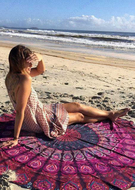 Brown Doughnut Circle Beach Towels Delicious Food Print Sandy Swimming Towel Sunbath Bikini Cover Up Circle Yoga Mat Blankets