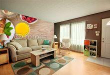Fototapeta , Panel szklany , Fototapety , Plexi , Healty breakfast with muesli, berries, orange juice, coffee and