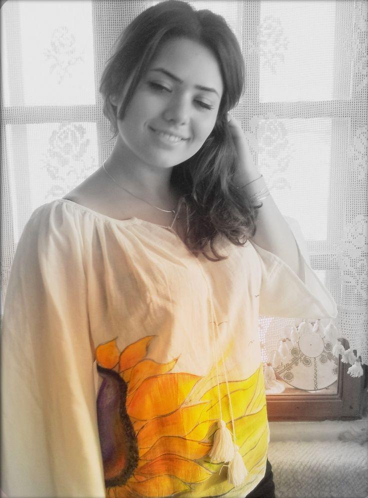 Blouse romantique,boho chic,hippie,paint main en coton : Chemises, blouses par mireille50