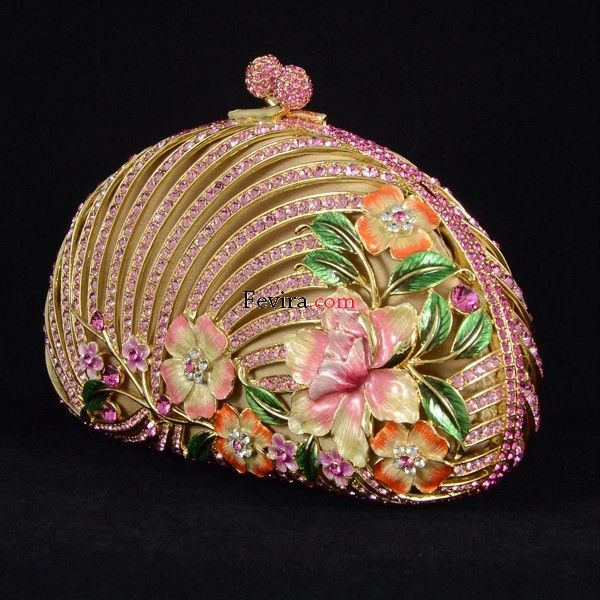 Luxurious Pink Swarovski Crystals Clutch Evening Flower Handbag Purse Bag