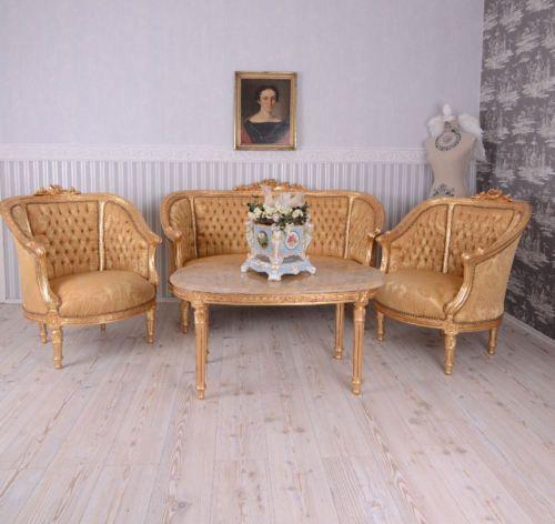 Sitzgruppe-Barock-Sitzgarnitur-Salon-Moebel-Sofa-Sessel-Couchtisch-Antik