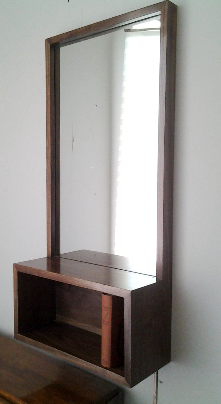 18 best mirror shelfshadowbox images on pinterest shelf custom walnut entry hall mirror with shelf mid century modern minimalist style amipublicfo Gallery
