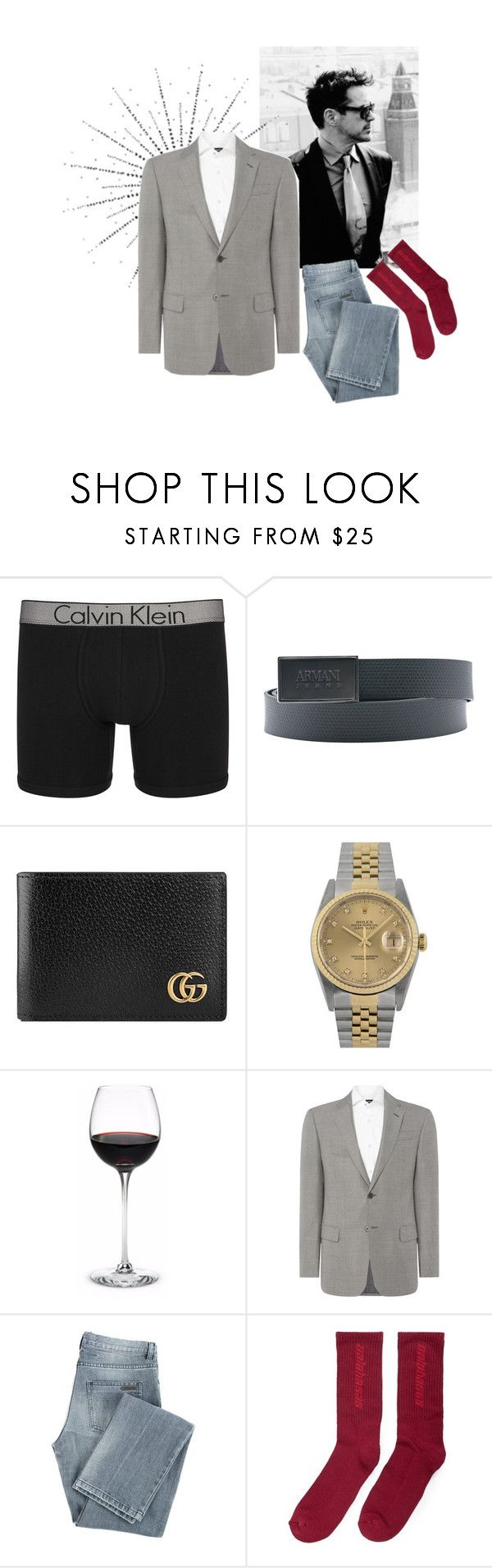 """""""[Visual] [Tony Stark/ \Private Roleplay]"""" by plus-style ❤ liked on Polyvore featuring Calvin Klein, Armani Jeans, Gucci, Rolex, Armani Collezioni, Givenchy, Yeezy by Kanye West, men's fashion and menswear"""