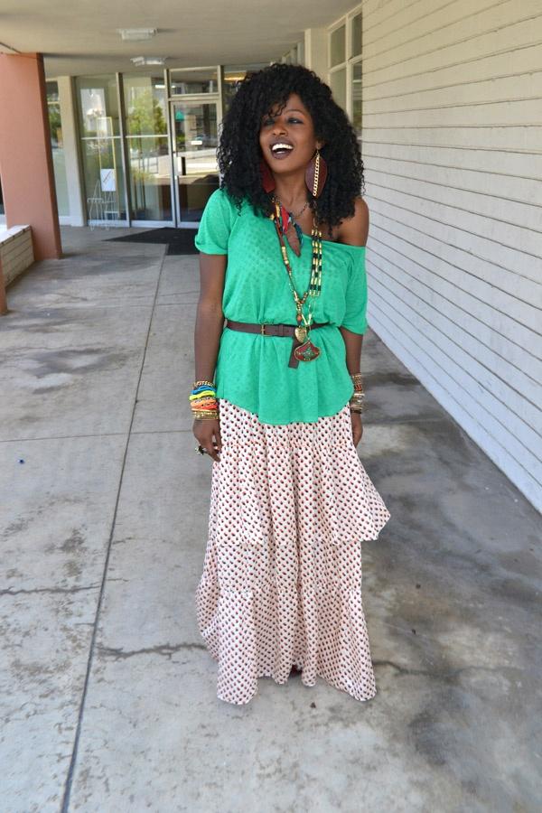 Sheer Linen Tshirt + Ruffle Maxi Dress