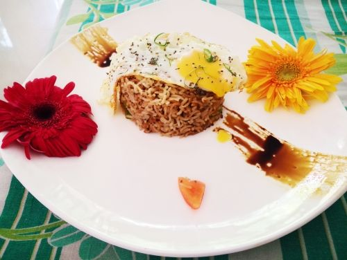 Sticky #Chia #Brown #Rice with Sunny Side Up Egg Recipe by Nandini Diwakar on Plattershare