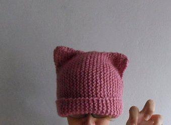 Knit Cat Ear Hat,Pink Cat Hat,Cat Beanie,Cat Hat from bysweetmom by DaWanda.com