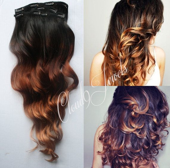 Clip In Natural Ombre Hair Extensions, Black to Bronzed Brown,  Hair Weave, Wide Tracks, Ombre Hair Extensions, Bleached Tips, Bohemian Wave on Etsy, $140.00