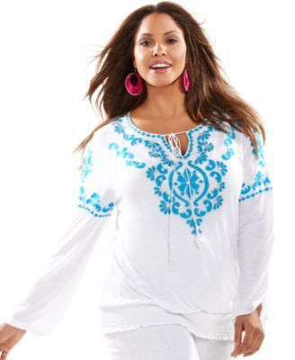 "Retail $99 Inc ""Sao Paulo"" White Turquoise Embroidered Beaded Peasant Blouse 2X | eBay"