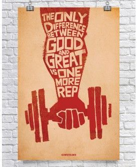 Difference Between Good & Great - Red  $26.00 GymPosters.com High quality, unique posters that help motivate and boost your workout. http://gymposters.com/ Motivational Fitness Supplements,Weightlifting, Body Building