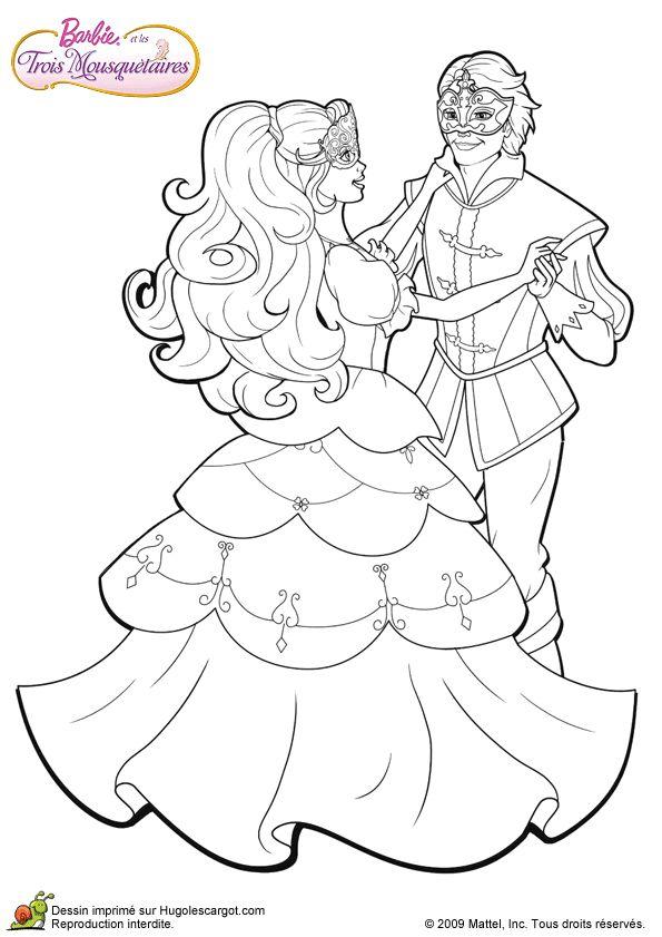 Barbie et son cavalier au bal masqu colorier - Robe barbie adulte ...