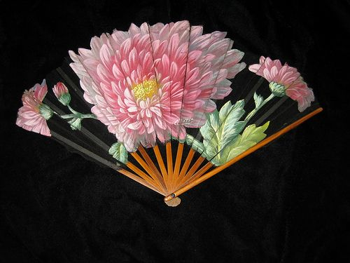 Chrysanthemums by Tutin, wooden fan around 1900, painted and cut out chrysanthemums, France