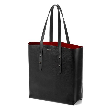 Aspinal Essential Tote in Black Pebble & Red Suede from Aspinal of London