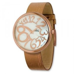 Moog Rose Plated Round MOP Dial Watch w/(PM-105RG) Brown Band - SalmaWatches.com $212.95